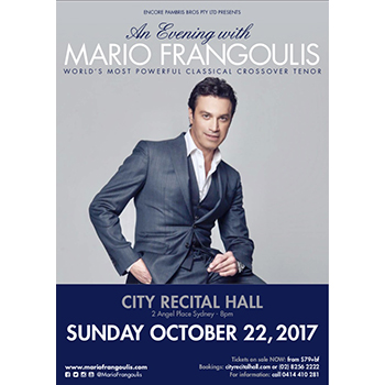 An Evening with Mario Frangoulis with Special Guest, Julie Lea Goodwin @ Sydney